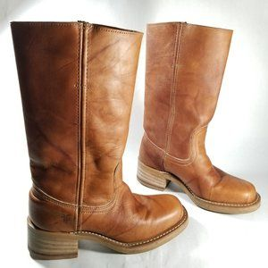 FRYE 77915 Brown Leather Mid Calf 12R Campus Boots